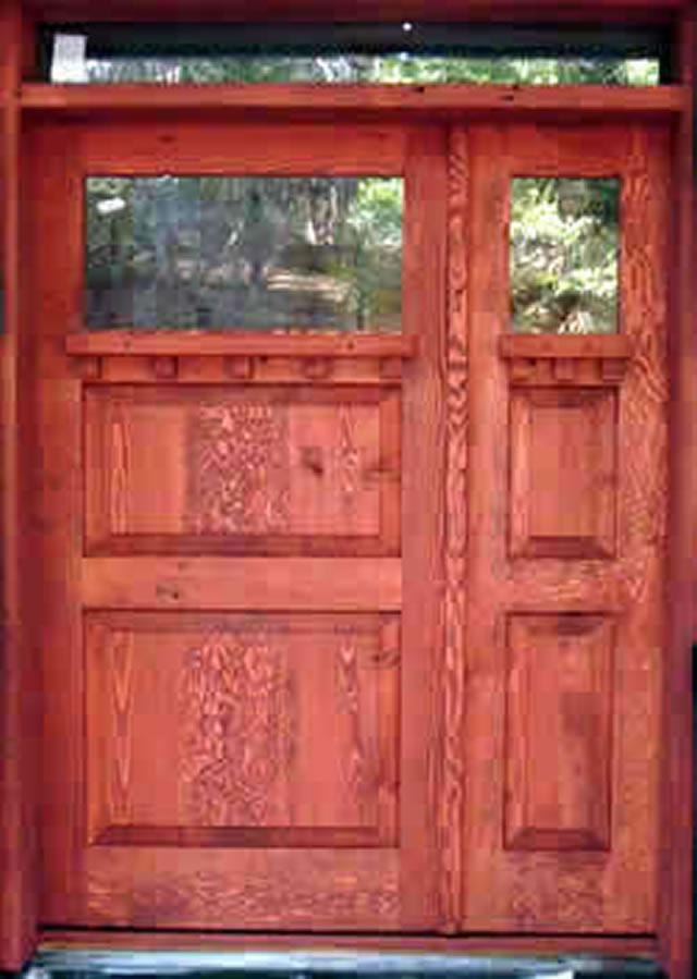 Reclaimed wood raised panel front entry door for Recycled interior doors