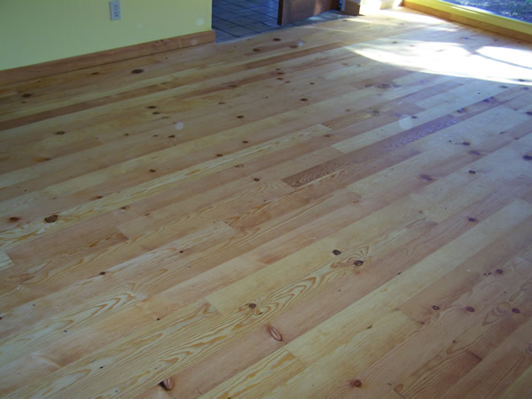 Finished Knotty Pine Floor From Recycled Wood Flooring